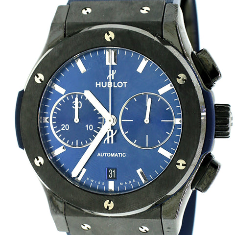 Hublot Classic Fusion Ceramic Blue Chronograph 45mm Watch Box & Papers