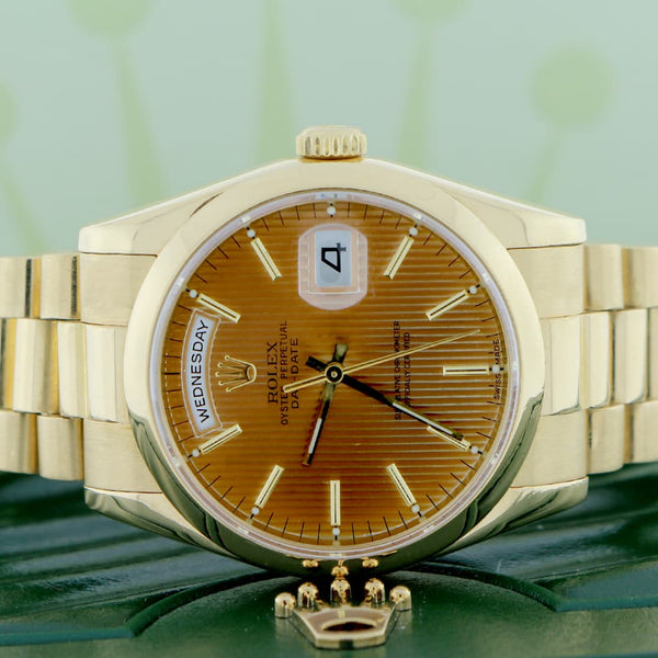 Rolex President Day-Date 18K Yellow Gold Brown Tapestry Dial 36MM Automatic Mens Watch 118208