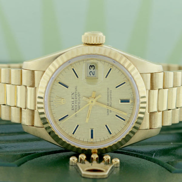 Rolex President Datejust Ladies 18K Yellow Gold 26MM Original Champagne Index Dial Automatic Watch 69178