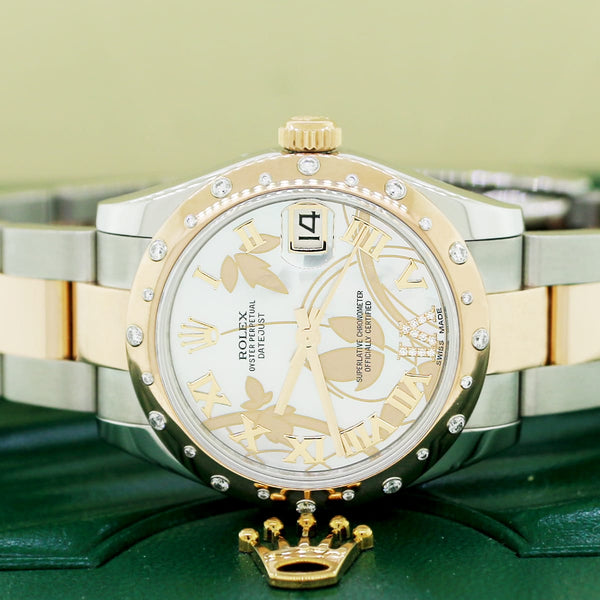 Rolex Datejust 2-Tone Rose/SS Factory Floral MOP Diamond Dial Midsize 31mm Watch 178341 Box & Papers