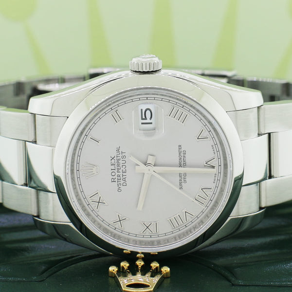 Rolex Datejust Rhodium Roman Dial 36MM Smooth Domed Bezel Oyster Stainless Steel Mens Watch 116200 Box Papers