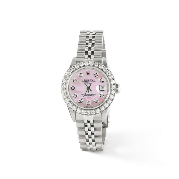 Rolex Datejust Steel 26mm Jubilee Watch Pink MOP 1.3CT Diamond Bezel & Dial