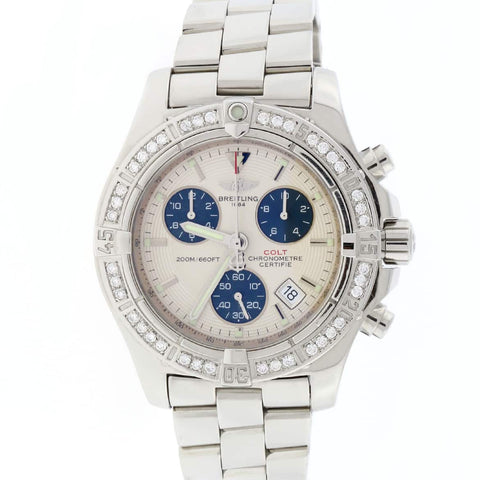 Breitling Chrono Colt Stainless Steel 41MM Silver Dial Chronograph Mens Watch A73380 w/Diamond Bezel