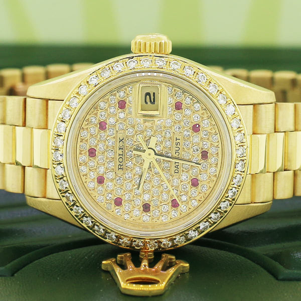 Rolex President Ladies 18K Gold 26MM 69178 w/ Custom Diamond Dial Bezel
