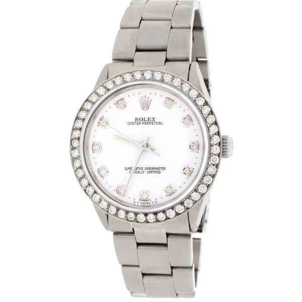 Rolex Oyster Perpetual 34mm Automatic Stainless Steel Oyster Watch w/White Diamond Dial & 1.80Ct Bezel