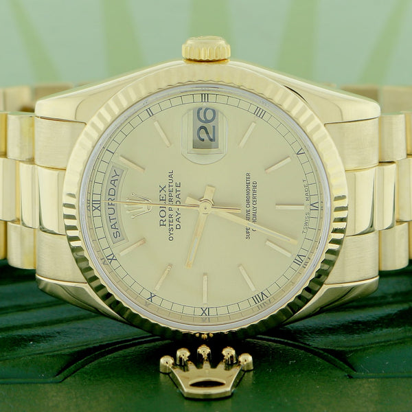 Rolex President Day-Date 18K Yellow Gold Factory Champagne Stick Dial 36MM Automatic Mens Watch 118238