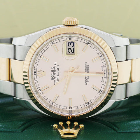 Rolex Datejust 2-Tone 18K Rose Gold/Stainless Steel Oyster Pink Dial 36MM Automatic V Serial Mens Watch 116231