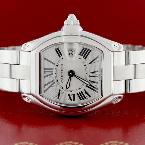 Cartier Roadster Small Silver Sunray Roman Dial 33MM Stainless Steel Watch W62016V3