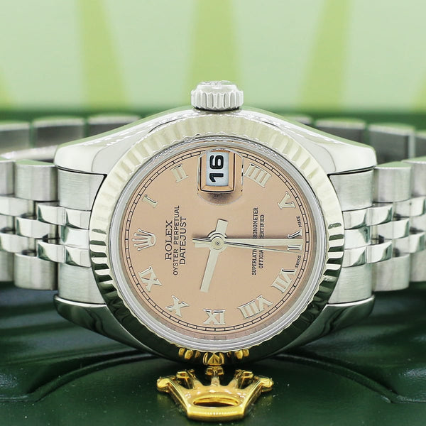 Rolex Datejust Ladies Original Silver Jubilee Salmon Roman Dial White Gold Bezel 26MM Steel Watch 179174