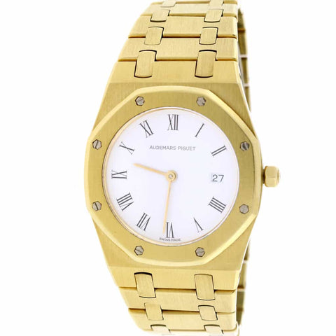 Audemars Piguet Royal Oak 18K Yellow Gold White Roman Dial 33mm Watch