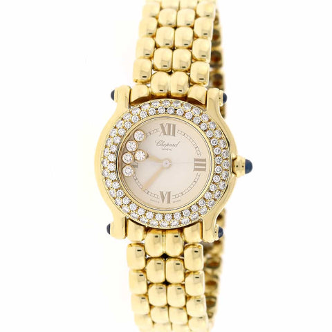 Chopard Happy Sport Round Classics 18K Yellow Gold Factory Diamond Bezel 26MM Ladies Watch 27/6150-23