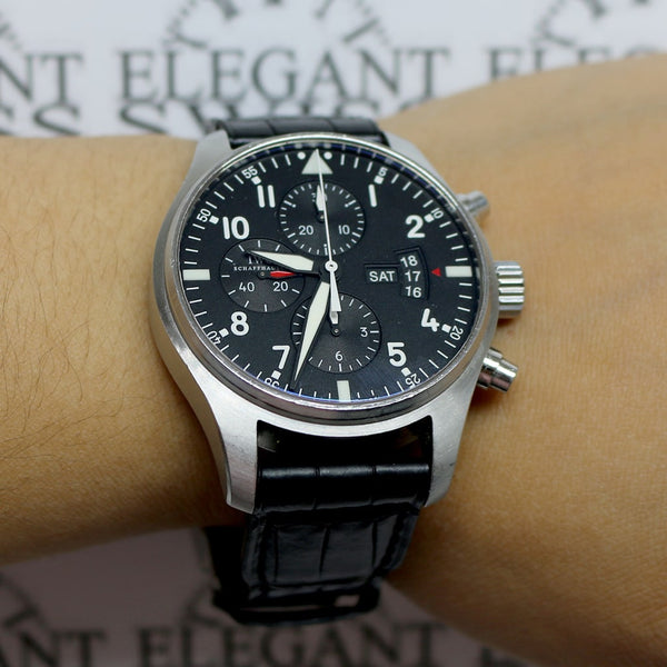IWC Pilot's Chronograph Day-Date 43MM Black Dial Automatic Stainless Steel Mens Watch IW377701