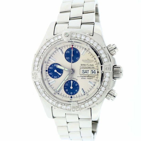 Breitling Chrono SuperOcean Day Date Cream Concentric Dial 42MM Automatic Stainless Steel Mens Watch A13340 w/Diamond Bezel
