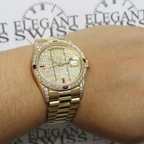 Rolex President Day-Date 18K Yellow Gold 36MM Original President Bracelet Automatic Watch w/custom Pave Dial & Diamond Bezel 18038