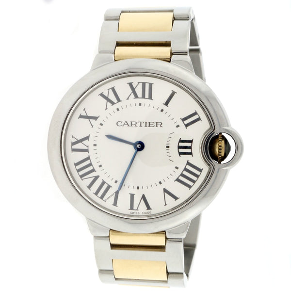 Cartier Ballon Bleu 2-Tone 18K Yellow Gold & Stainless Steel 36MM Mens Watch W69008Z3