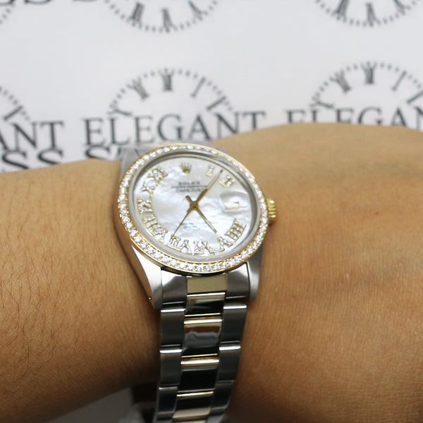 Rolex Datejust 2-Tone 18K Gold/SS 36mm Automatic Oyster Watch w/MOP Roman Diamond Dial & 1.3Ct Bezel