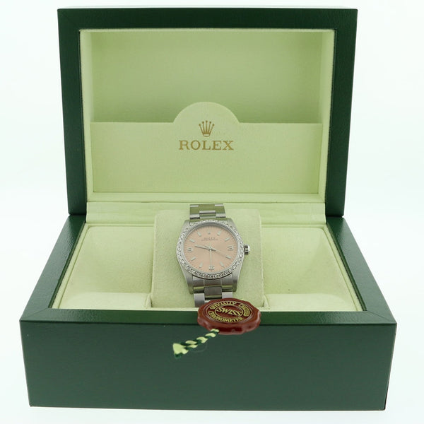 Rolex Oyster Perpetual Original Salmon Stick Dial 31mm Automatic Stainless Steel Watch w/Diamond Bezel 77080