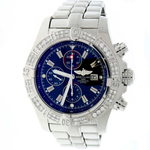 Breitling Super Avenger Chronograph Black Dial 48MM Automatic Stainless Steel Mens Watch with Custom Diamond Bezel A13370