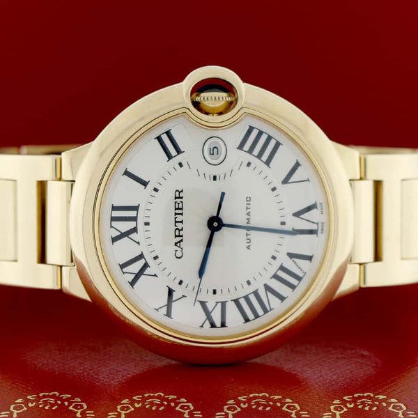 Cartier Ballon Bleu Large 18K Yellow Gold 42MM Roman Dial Automatic Mens Watch W69005Z2