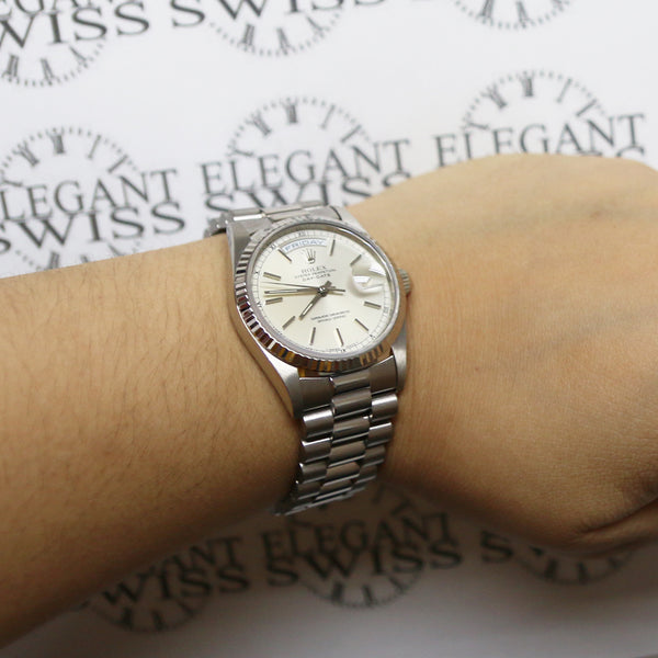 Rolex President Day-Date 18K White Gold 36MM Double-Quick Factory Silver Index Dial Automatic Mens Watch 18239