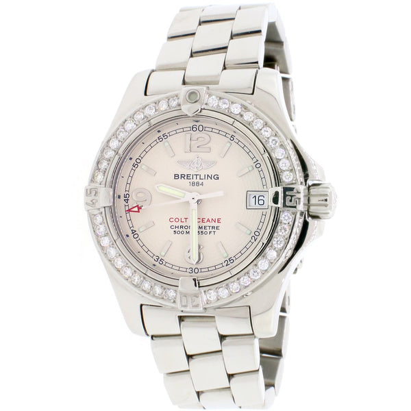 Breitling Colt Oceane Stainless Steel 33MM Ivory Dial Ladies Watch A77380 w/Diamond Bezel