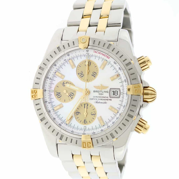 Breitling Chronomat Evolution 2-Tone Gold/Steel Original MOP Dial 44mm Chronograph Mens Watch B13356