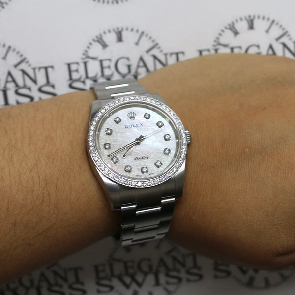 Unworn Rolex Air-King 34MM w/ Custom Diamond Dial/ Bezel Automatic Stainless Steel Oyster Mens Watch 114200