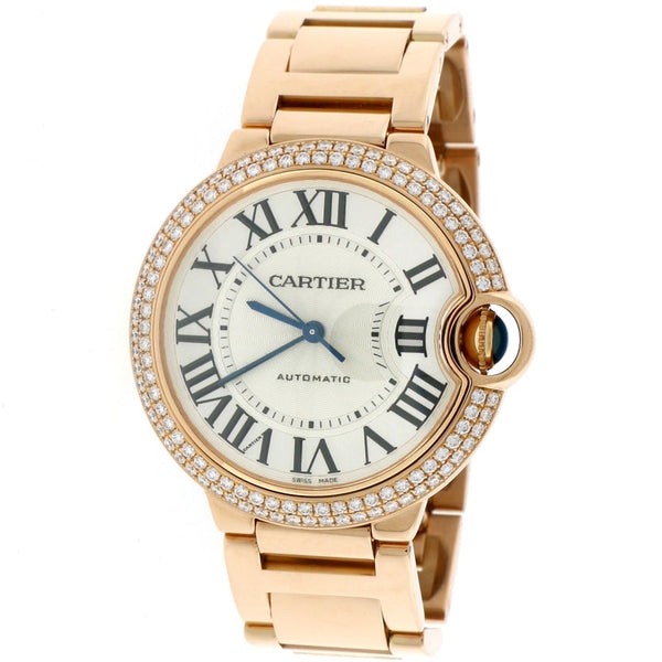 Cartier Ballon Bleu Midsize 18K Pink Gold Original Diamond Bezel 36MM Automatic Watch WE9005Z3