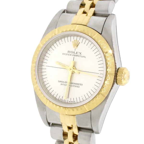 Rolex Oyster Perpetual Ladies 2-Tone 18K Yellow Gold/Stainless Steel Factory Silver Dial Engine Turned Bezel 24MM Jubilee Watch 76243