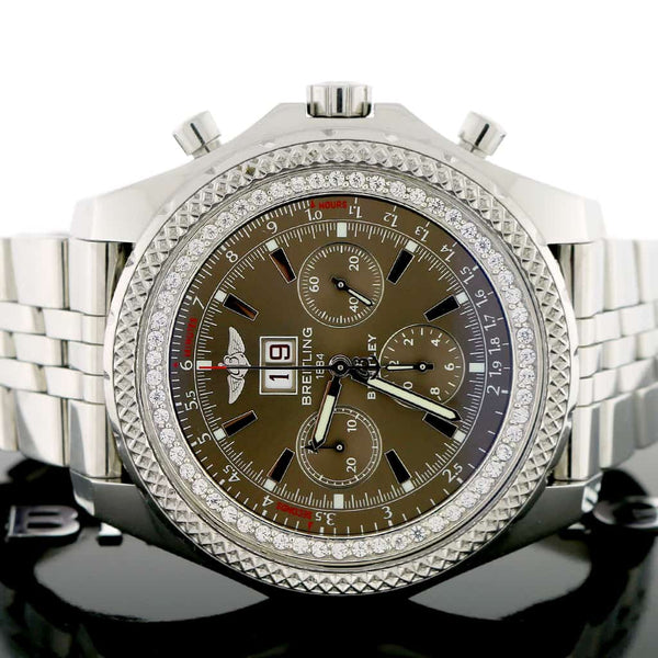 Breitling Bentley 6.75 Chronograph 49MM Chocolate Index Dial Big Date Automatic Watch A44362 w/Inner Diamond Bezel