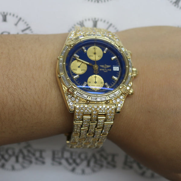 Breitling Chronomat 18K Yellow Gold Chronograph 41MM Automatic Mens Watch K13047X w/Diamond Dial, Bezel, & Bracelet