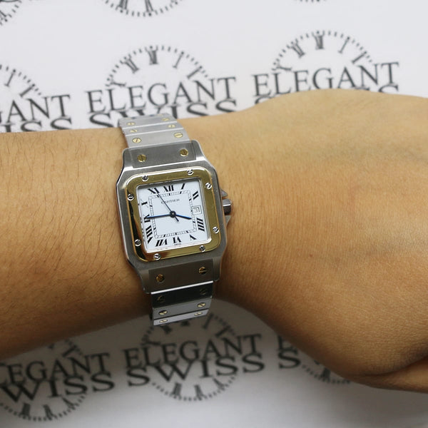 Cartier Santos Or Et Acier 18K Yellow Gold/Stainless 29MM White Roman Dial Automatic Watch W20058C4