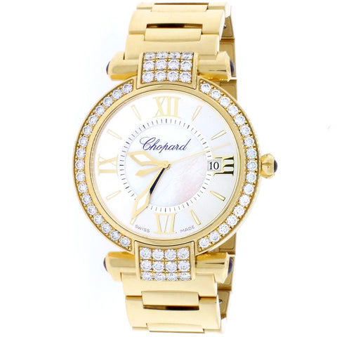 Chopard Imperiale 18K Yellow Gold Factory Diamond Bezel White MOP Dial 36MM Watch 384221-0004