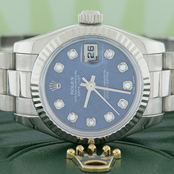 Rolex President Datejust Ladies 18K White Gold Factory Sodalite Diamond Dial 26MM Automatic Watch 179179