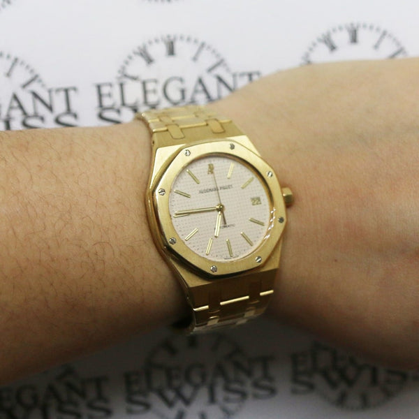 Audemars Piguet Royal Oak 18K Yellow Gold Factory Champagne Index Dial 37mm Automatic Watch 15450BA.OO.1256BA.01