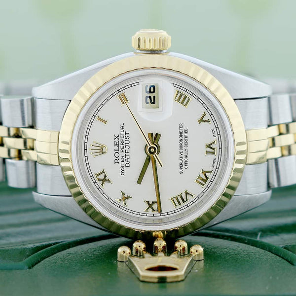 Rolex Datejust Ladies 2-Tone 18K Yellow Gold/Steel 26MM Original Pyramid Dial Jubilee Watch 79173