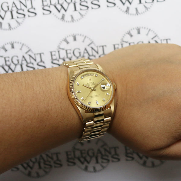 Rolex President Day-Date 18K Yellow Gold Factory Champagne Diamond Dial 36MM Automatic Mens Watch 18238
