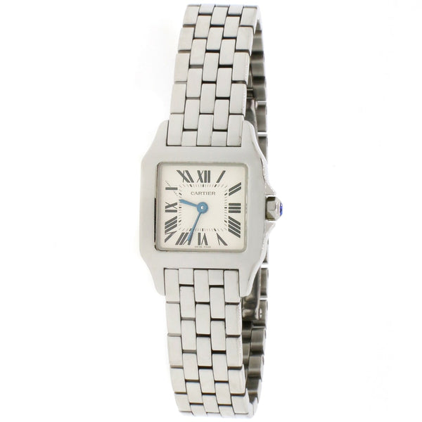 Cartier Santos Demoiselle Quartz 21MM Silver Roman Dial Stainless Steel Ladies Watch W25064Z5 2689 Box Papers