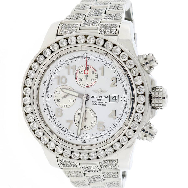 Breitling Super Avenger Chronograph White Dial 48MM Automatic Stainless Steel Mens Watch w/1.4CT Diamond Bezel A13370 (Copy)