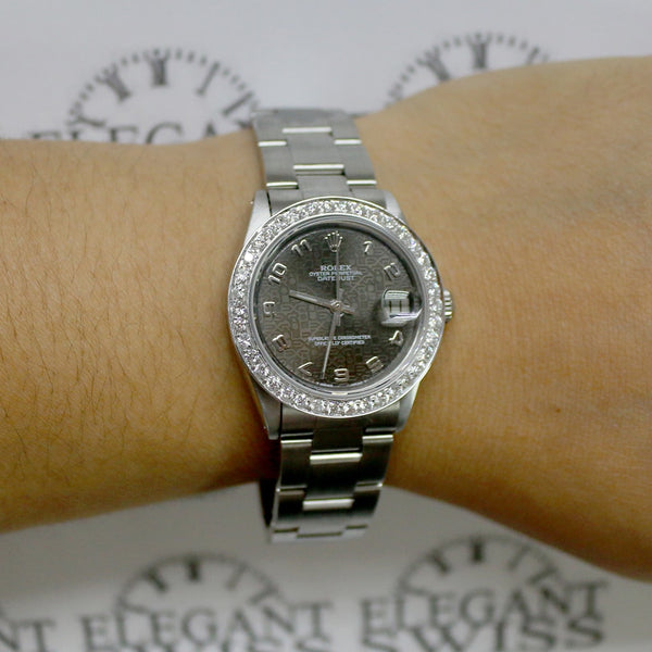 Rolex Datejust Midsize Jubilee Dial 31MM Automatic Stainless Steel Oyster Watch w/1.52Ct Diamond Bezel
