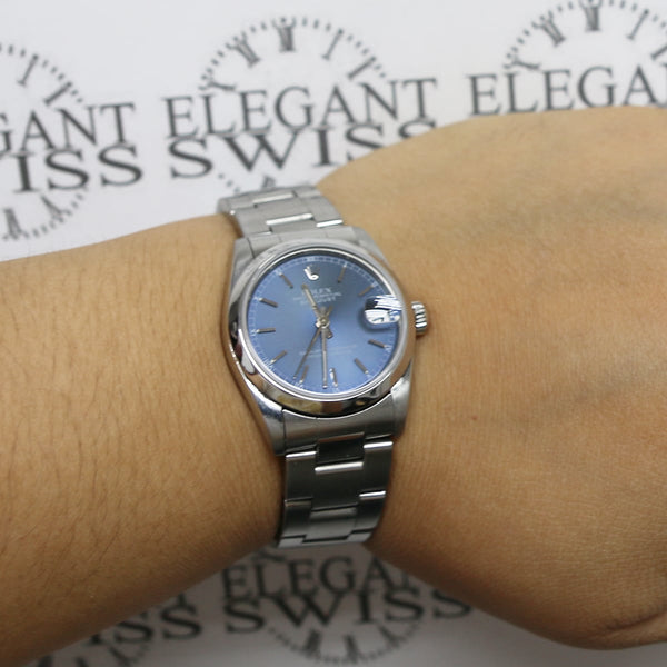 Rolex Datejust Midsize Blue Index Dial 31MM Automatic Stainless Steel Oyster Watch 68240