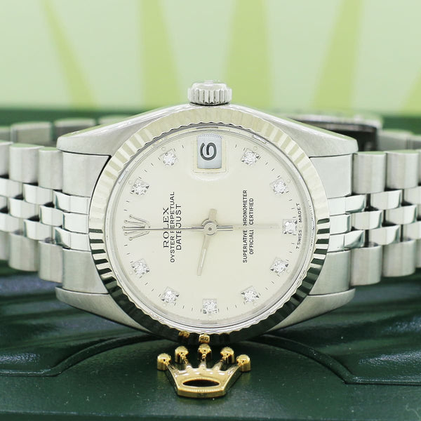 Rolex Datejust 31mm Midsize Diamond Dial 18K White Gold fluted bezel Automatic Jubilee Watch 68274