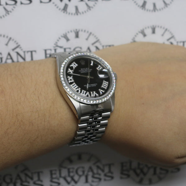 Rolex Datejust 36MM Automatic Stainless Steel Jubilee Watch w/Black Roman Diamond Dial & Bezel