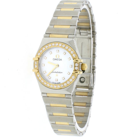 Omega Constellation 2-Tone Factory Diamond Bezel/Diamond MOP Dial 23mm Watch
