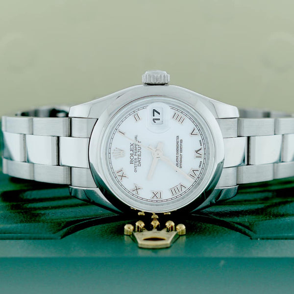 Rolex Datejust Ladies Original White Index Dial 26MM Domed Bezel Automatic Stainless Steel Jubilee Watch 179160