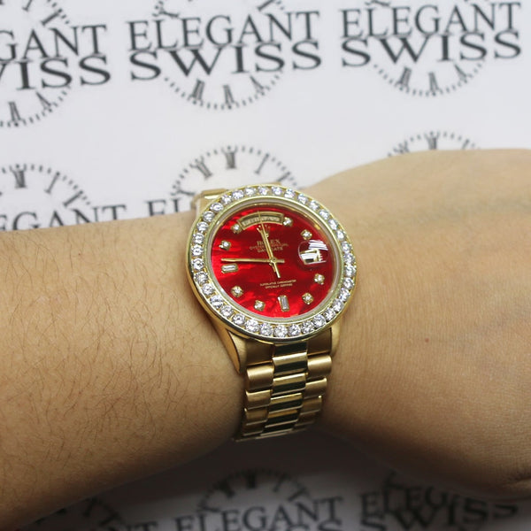 Rolex President Day-Date 18K Yellow Gold 36MM Automatic Watch w/Ruby Red MOP Diamond Dial & 4.0Ct Bezel
