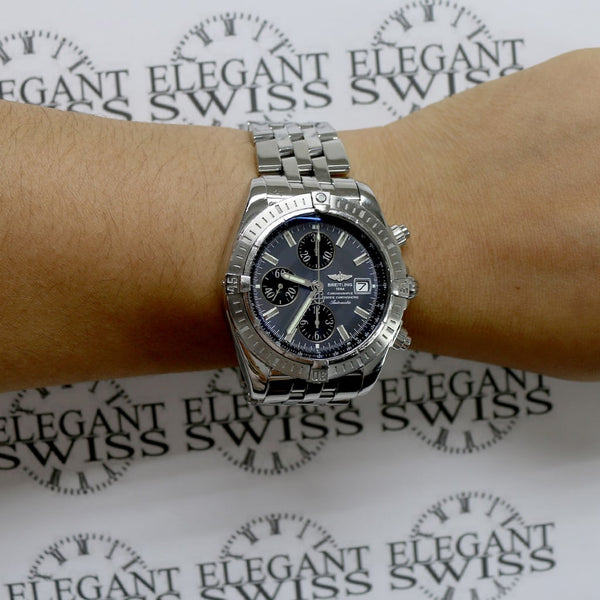 Breitling Chronomat Evolution Chronograph 44MM Gray Concentric Dial Automatic Stainless Steel Mens Watch A13356