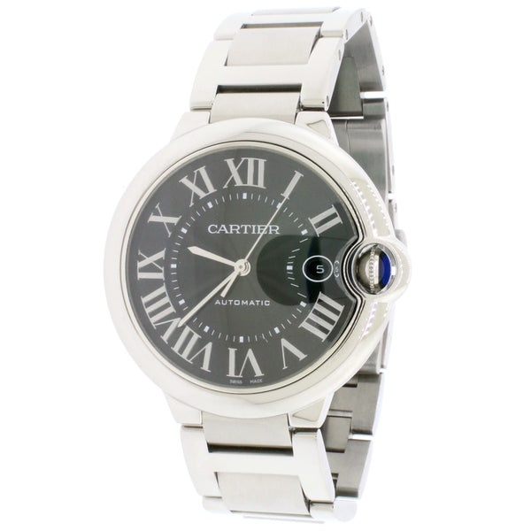 Cartier Ballon Bleu Stainless Steel 42mm Grey Roman Dial Automatic Mens Watch W69012Z4