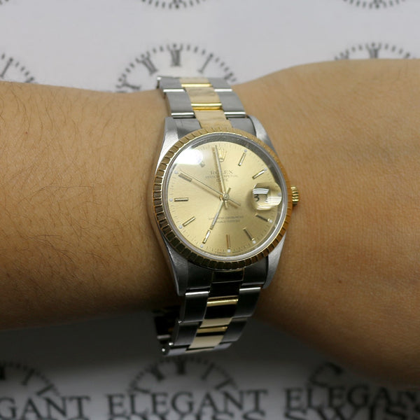 Rolex Oyster Perpetual Date 2-Tone 18K Yellow Gold/Stainless Steel 34MM Champagne Stick Dial Watch 15223