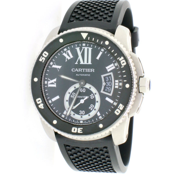Calibre de Cartier Diver Black Roman Dial 42mm Steel Watch W7100056